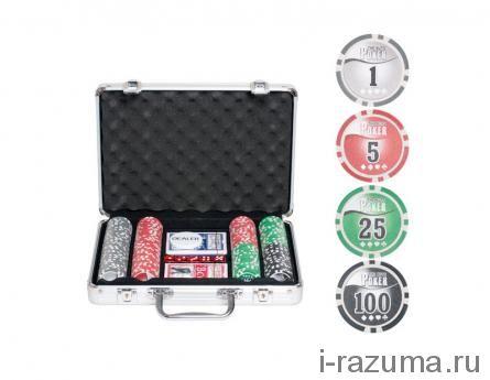 Покер Nuts в алюминиевом кейсе (200 фишек 11,5 г. с номиналом)