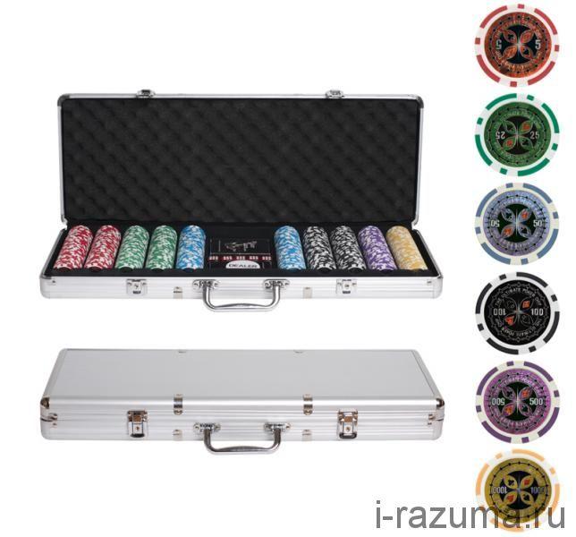 "Набор ""Покер"" Ultimate в алюминиевом кейсе (500 фишек 14 г. c номиналом)"